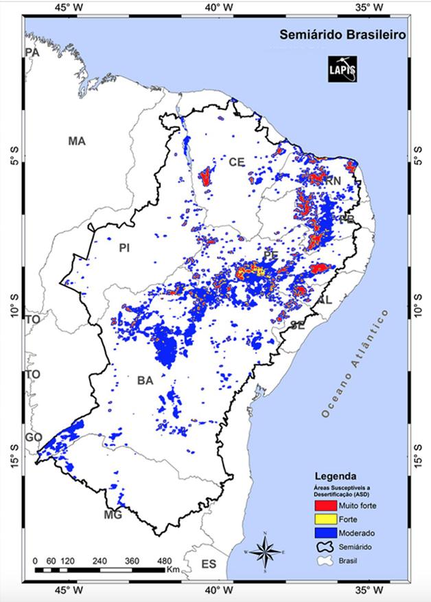 Mapa mostrando os diferentes níveis de desertificação na região
