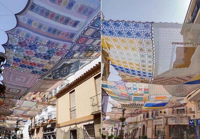 Peças gigantes de crochê oferecem sombra a pedestres em Málaga