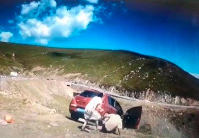 Carro despenca de penhasco com passageiro enquanto família observa paisagem; veja vídeo