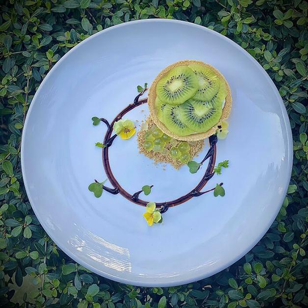 Tortinha de kiwi com gelatina de kiwi condensada