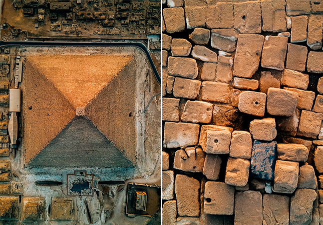Drone capta incríveis imagens aéreas das Pirâmides de Gizé como só os pássaros a vêem