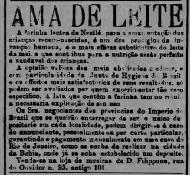Anúncio de farinha láctea no final do século XIX