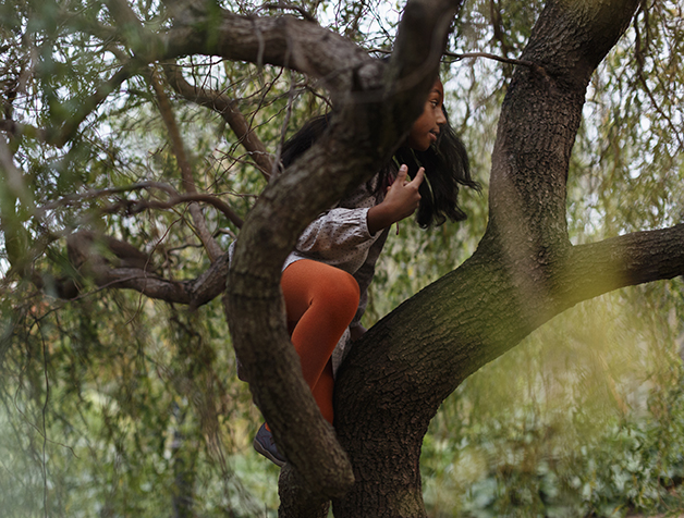 criança subindo em árvore