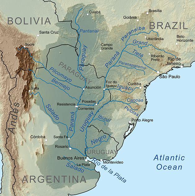 A bacia do Rio Paraná, desde o Brasil até o Paraguai, o Uruguai, a Argentina e a Bolívia