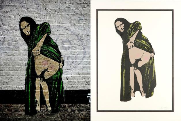 A peça em grafite e, à direita, em quadro que foi a leilão