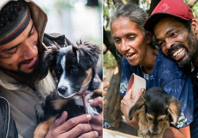 Projeto fotografa pessoas em situação de rua com seus pets por um olhar mais afetivo