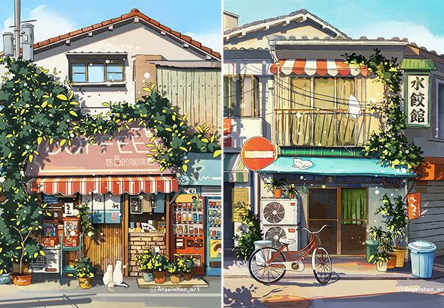 As mais charmosas fachadas criadas digitalmente pela artista Angela Hao