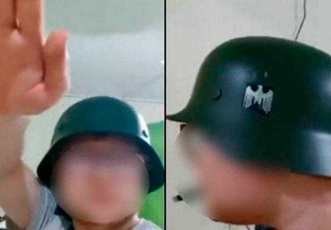 Brasileiro com capacete nazista saúda Hitler e diz irá comprar roupa: 'Vai ficar top'