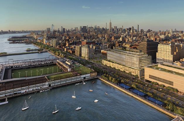 O prédio irá alterar a paisagem à beira do rio Hudson