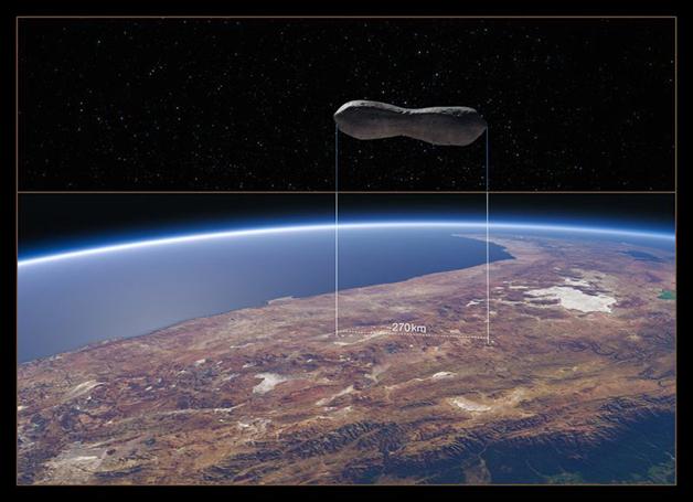 O ESO comparou em montagem a dimensão do asteróide com partes da Terra - como, na imagem, região do Chile