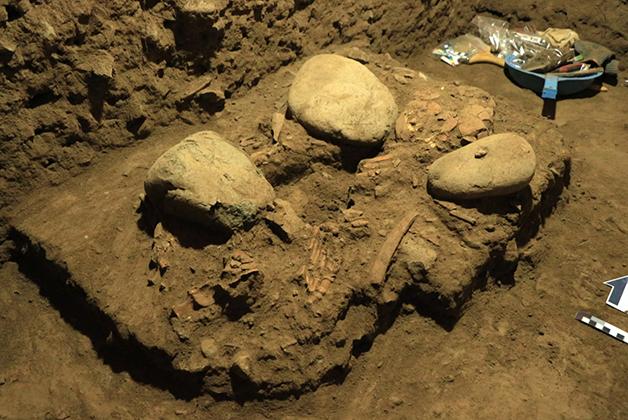 A ossada fossilizada encontrada na ilha indonésia