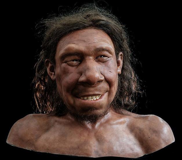 O rosto de Krijn, reconstruído a partir do osso e de estudo sobre pele e cabelos neandertais