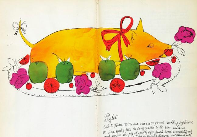 Um livro de receitas ilustrado por Andy Warhol foi lançado em 1959 como paródia debochada da alta gastronomia