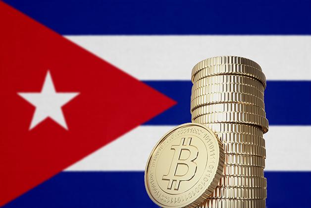Bitcoins e bandeira de cuba