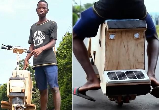 Sustentabilidade na veia: jovem cria moto de madeira movida à energia solar