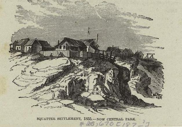 Ilustração mostrando parte da comunidade de Seneca Village em 1855