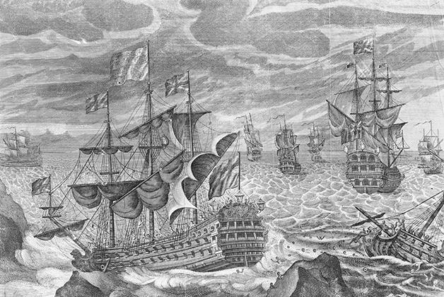 Ilustração com o HMS Association ao centro