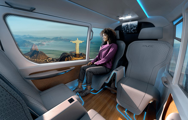 Área interna projetada do modelo de eVTOL da Embraer