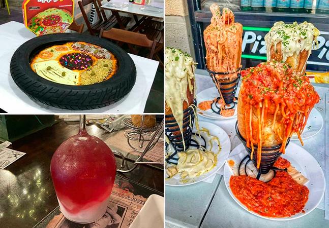 Pizza no pneu, macarrão no copo: comidas estranhas servidas de forma duvidosa