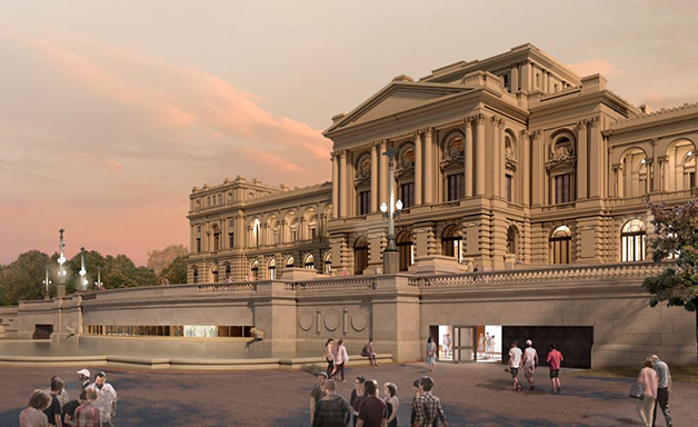 Imagem da entrada do Museu do Ipiranga, em projeto para sua inauguração, em 2022