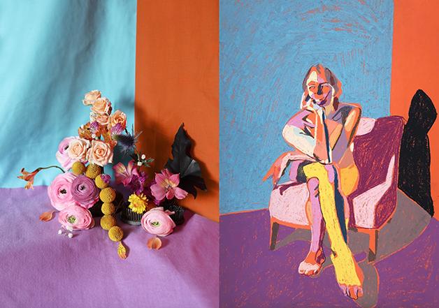 """""""Nú em laranja com chão púrpura"""", de Hester Finch (2018)"""