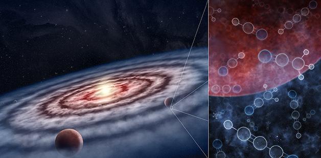 Representação artística de um disco protoplanetário ao redor de uma jovem estrela