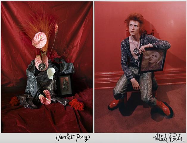 David Bowie em foto de Mick Rock de 1972, e nas flores de Harriet Parry