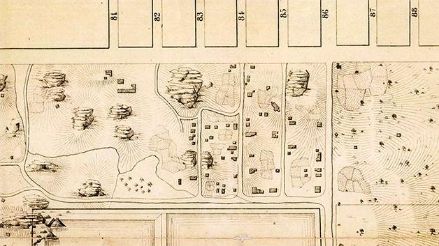 Mapa mostrando o Seneca Village antes da construção do Central Park