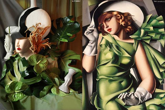 """Arranjo (à esquerda) do quadro """"Young Lady With Gloves"""", de Tamara De Lempicka (1930), à direita"""